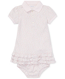Ralph Lauren Baby Girls Floral-Print Polo Dress