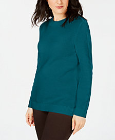 Karen Scott Long-Sleeve Cotton Sweater, Created for Macy's