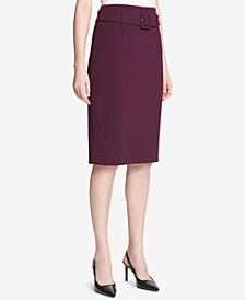 Calvin Klein Belted High-Waist Pencil Skirt, Regular & Petite