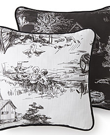 "Toile Back In Black Square Pillow 18""x18"" - One side Linen background, reverses to the toile on the black background."
