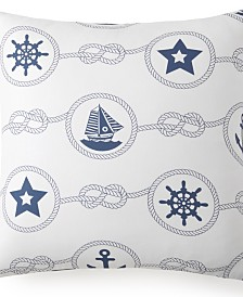 Nautical Board Euro Sham -White Background with Blue Nautical