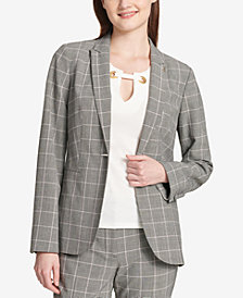 Tommy Hilfiger One-Button Plaid Jacket