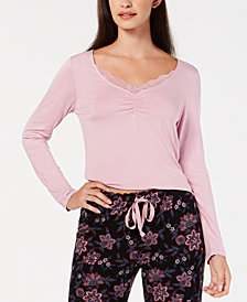 I.N.C. Lace-Trim Ruched Pajama Top, Created for Macy's