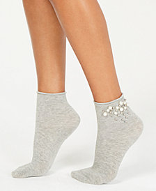 HUE® Imitation-Pearl Roll-Top Socks