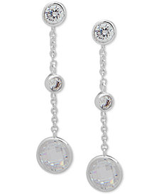 Lauren Ralph Lauren Silver-Tone Crystal Linear Drop Earrings
