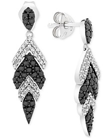 Wrapped in Love™ Diamond Feather Drop Earrings (1 ct. t.w.) in 14k White Gold, Created for Macy's