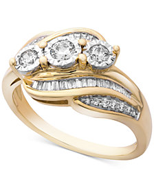 Wrapped in Love™ Diamond Three-Stone Ring (1/2 ct. t.w.) in 14k Gold, Created for Macy's