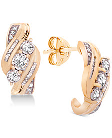 Wrapped in Love™ Diamond Three-Stone Earrings (1/2 ct. t.w.) in 14k Gold, Created for Macy's