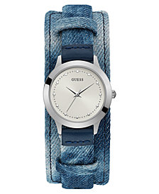 GUESS Women's Blue Leather Cuff Strap Watch 36.5mm