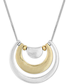 "Lucky Brand Two-Tone Half-Loop Pendant Necklace, 29"" + 2"" extender"