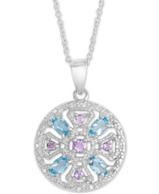 """Sterling Silver Multi-gemstone and Diamond Accent Pendant Necklace 18/"""""""
