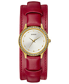 GUESS Women's Red Leather Cuff Strap Watch 30mm, Created for Macy's