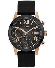 Men's Black Silicone Strap Watch 45mm