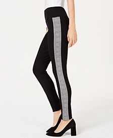 INC Plaid-Contrast Pull-On Pants, Created for Macy's
