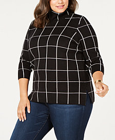 Belldini Plus Size Plaid Cowl-Neck Sweater