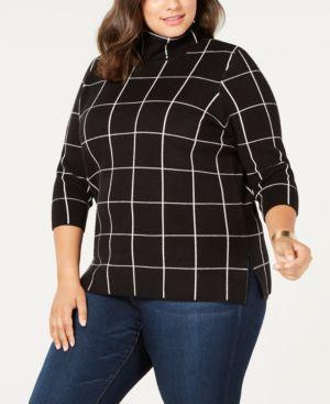 BELLDINI Plus Size Plaid Cowl-Neck Sweater in Black/White
