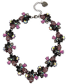 "Betsey Johnson Hematite-Tone Crystal & Stone Skull Collar Necklace, 17"" + 3"" extender"