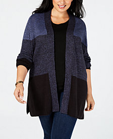 Karen Scott Plus Size Colorblock Cardigan, Created for Macy's