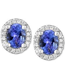 Tanzanite (3/4 ct. t.w.) & Diamond Accent Stud Earrings in 14k White Gold