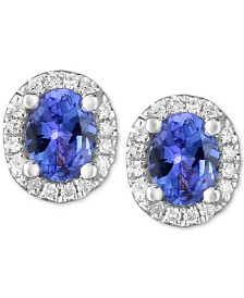 Tanzanite (3/4 ct. t.w.) & Diamond Accent Stud Earrings in 14k White Gold