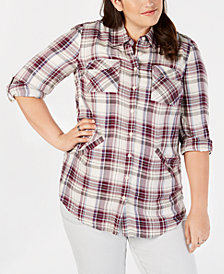 Style & Co Plus Size Plaid Woven Tunic, Created for Macy's
