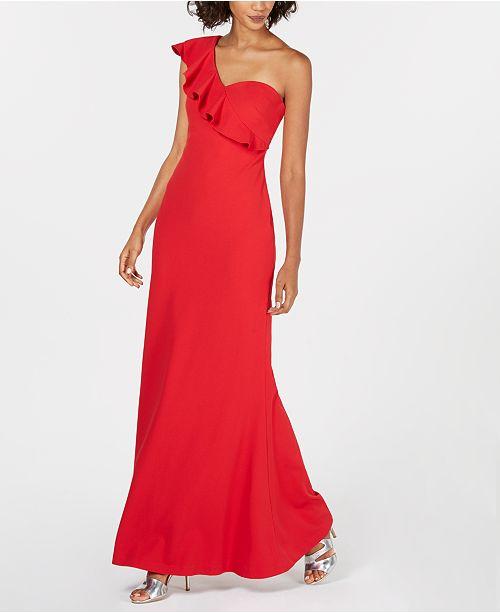 3c883994b3dd Calvin Klein Ruffled One-Shoulder Gown   Reviews - Dresses - Women ...