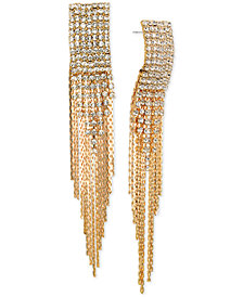 Jewel Badgley Mischka Crystal & Chain Fringe Chandelier Earrings