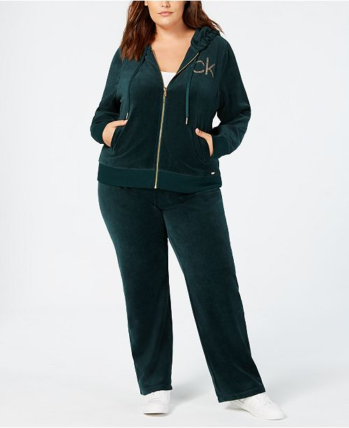 b4b053f24ae Calvin Klein Plus Size Velour Embellished Hoodie and Wide Leg Pants ...