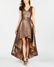 Calvin Klein Metallic High-Low Gown