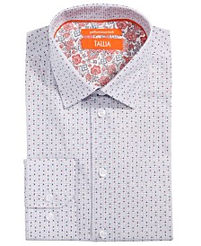Tallia Men's Slim-Fit Non-Iron Performance Stretch Printed Circles on Grid Dress Shirt