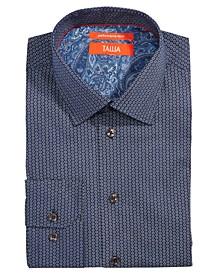 Men's Slim-Fit Non-Iron Performance Stretch Hexagon Print Dress Shirt