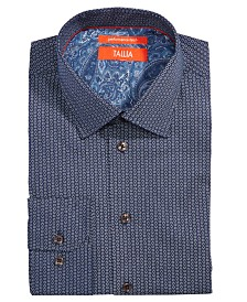 Tallia Men's Slim-Fit Non-Iron Performance Stretch Hexagon Print Dress Shirt