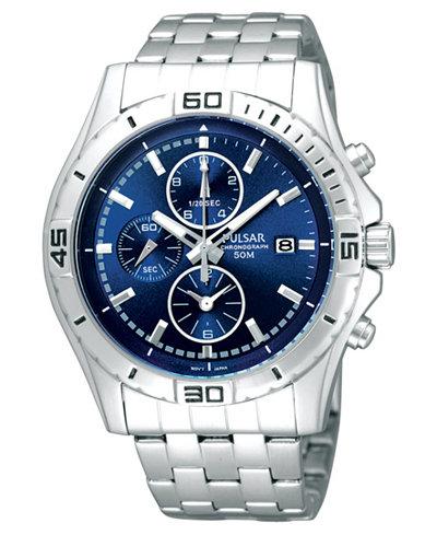 pulsar watch mens chronograph stainless steel bracelet