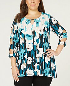 JM Collection Plus Size Printed Lattice-Sleeve Top, Created for Macy's
