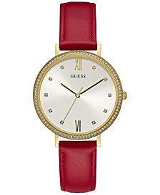 GUESS Women's Red Leather Strap Watch 38mm, Created for Macy's
