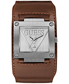 GUESS Men's Brown Leather Cuff Strap Watch 40x36.5mm