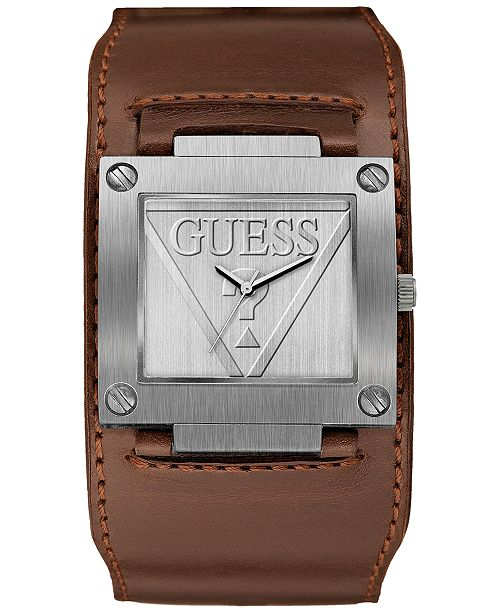 8b570c65a14c GUESS Men s Brown Leather Cuff Strap Watch 40x36.5mm   Reviews ...