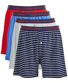 Polo Ralph Lauren Men's Knit Cotton Boxers, 3+1 Bonus Pack