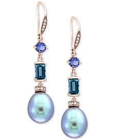 EFFY® Blue Cultured Freshwater Pearl (12 x 10mm), Multi-Gemstone (1-3/4 ct. t.w.) & Diamond (1/8 ct. t.w.) Drop Earrings in 14k Rose Gold