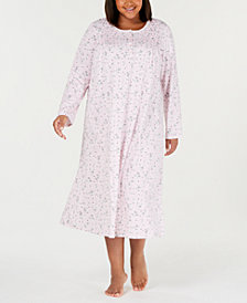Charter Club Plus Size Printed Long Cotton Nightgown, Created for Macy's