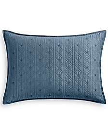 Hotel Collection Cascade 300-Thread Count Blue Quilted King Sham, Created for Macy's