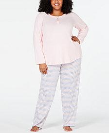 Charter Club Plus Size Soft Knit Pajama Set, Created for Macy's
