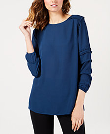 Love Scarlett Petite Back-Zip Tiered-Sleeve Top