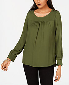 NY Collection Petite Button-Trim Top