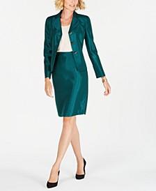 Petite Three-Button Shiny Skirt Suit