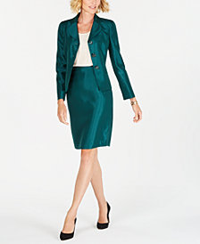 Le Suit Three-Button Shiny Skirt Suit