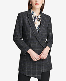 DKNY Asymmetrical-Hem Plaid Blazer, Created for Macy's