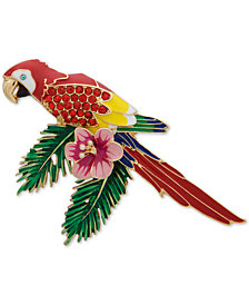 Anne Klein Gold-Tone Crystal Parrot, Created for Macy's