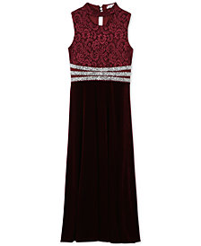Speechless Big Girls Plus Glitter Lace Velvet Dress