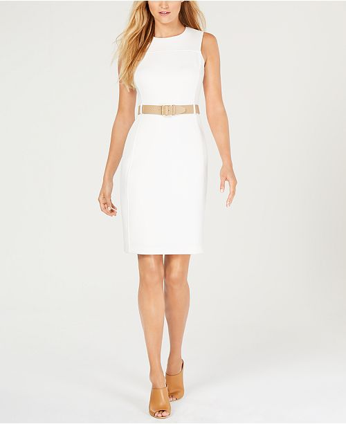 420ccd45 Calvin Klein Belted Scuba Sheath Dress & Reviews - Dresses - Women ...